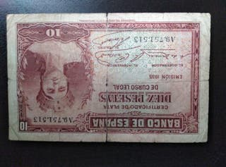 Billete 10 pesetas, 1935. República Española
