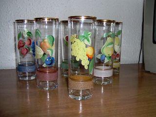 Vasos tubo con decoracion vintage