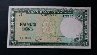 Billete . South Vietnam . 20 Dong 1964 . Pick 16