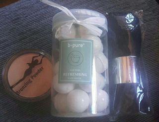 Bombas de baño + polvos bronceadores + brocha