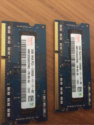 Modulos memoria ram 2 gb pc3 para macbook apple