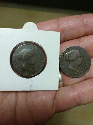 lote moneda antigua 25 centimos de real 1855, 1861
