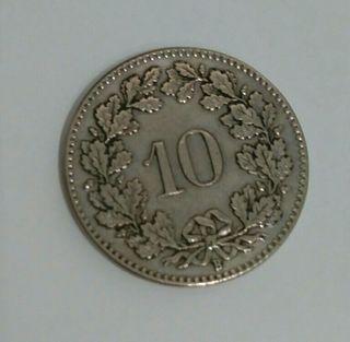 Moneda 10 céntimos Franco suizo de plata año 1928