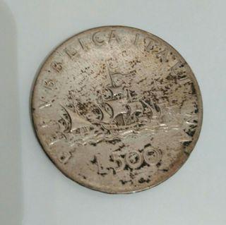 moneda 500 Liras italianas de plata año 1960