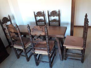Mesa y sillas madera maciza antiguas