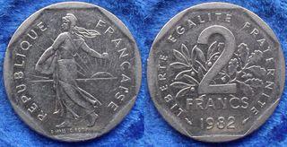 FRANCIA - 2 francs 1982 KM# 942.1 - moneda