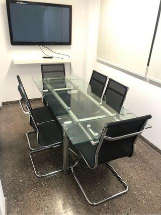 Sillas oficina eames sala reuniones mesa cristal de - Sillas oficina valencia ...