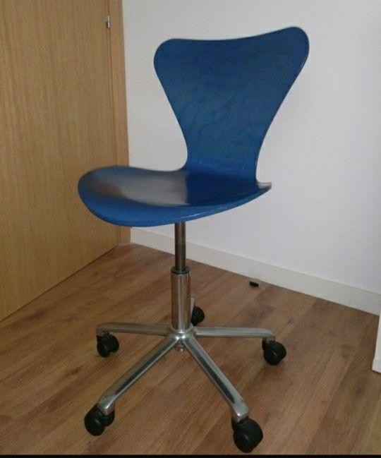 Silla oficina estudio madera azul de segunda mano por 40 € en ...