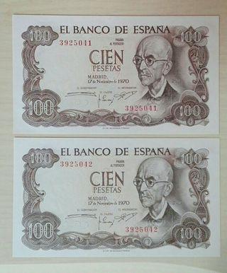 100 pesetas 1970 (pareja correlativa) sin serie y