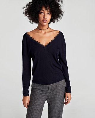 Jersey escote encaje Zara