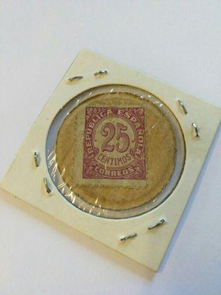 carton moneda 25 centimos Republica Española
