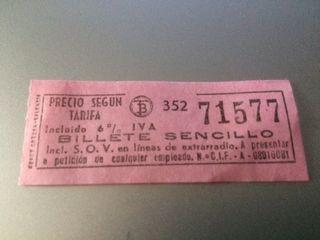 billete de autobus barcelona 1985