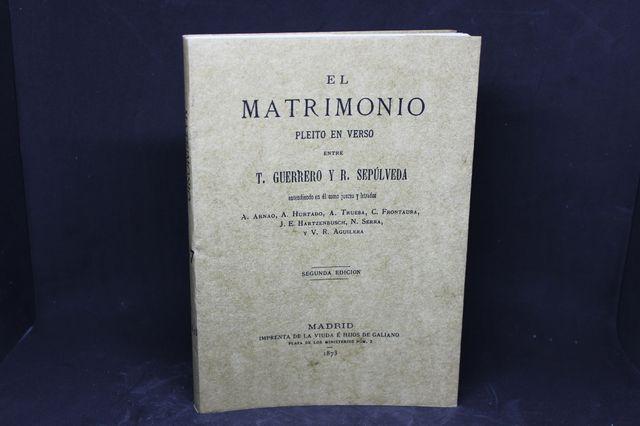 Libro El matrimonio - Pleito en verso - 1873