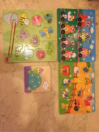 Lote puzzles madera bebe 12