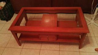 mesa de centro color cerezo