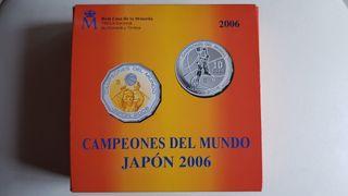 Monedas oro y plata. Campeones del mundo Japón2006
