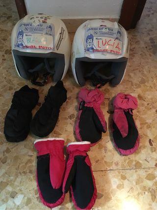 Cascos y guantes esquí niños