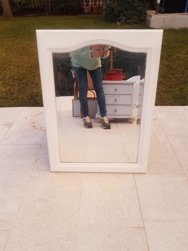 Espejo marco madera pintado blanco de segunda mano por 25 € en ...