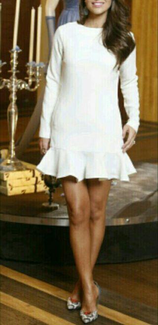 Vestido blanco manga larga paula echevarria