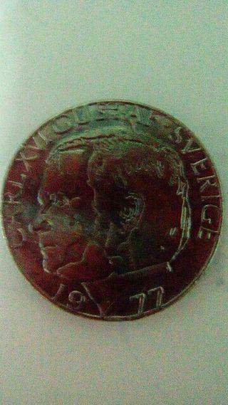 Moneda de Suecia 1 corona 1977