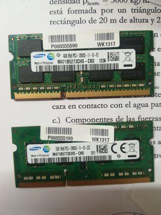 Memoria RAM portátil ddr3 4Gb y 2Gb