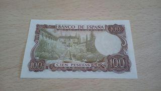 100 pesetas 1970. Reverso verde.