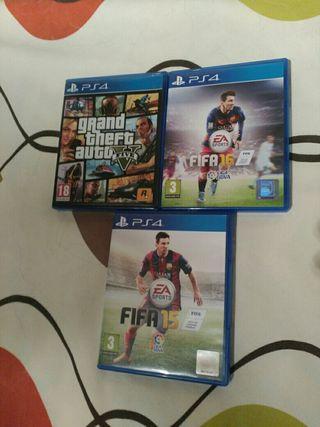 Juegos pack ps4 GTA V +FIFA 15 y 16