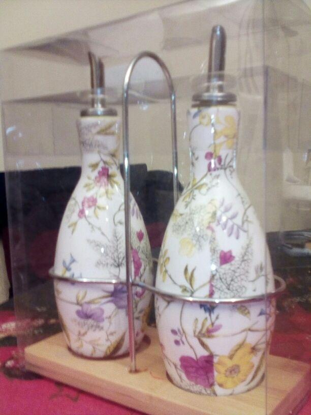 vinagreras ceramica pintada con soporte
