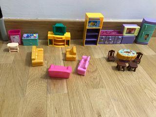 Muebles casita muñecas plástico