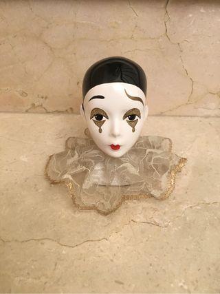 Figura cabeza de pierrot de Lores en porcelana
