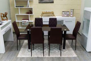 Mesa 6 sillas marron