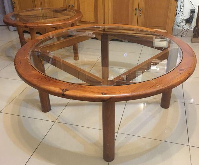 Mesas redondas madera y cristal de segunda mano por 125 for Wallapop mesas