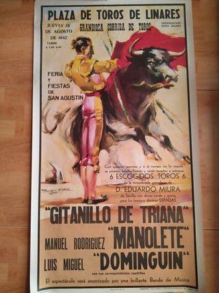 fantástico cartel de la plaza de toros de Linares