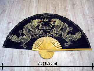 5ft Thai Fan Hand Painted Silk/Bamboo