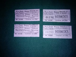 Antiguos billetes de autobús