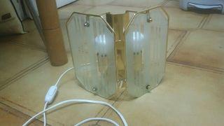 aplique de dos bombillas dorado