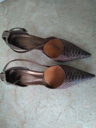 zapatos tacon piel imitacion animal