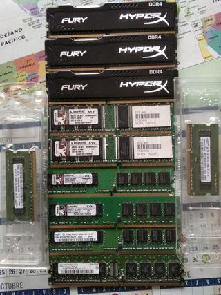 Memoria RAM DDR 1, 2 y 4 para PC y portátil.