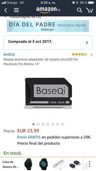 Tarjeta macbook pro mas micro