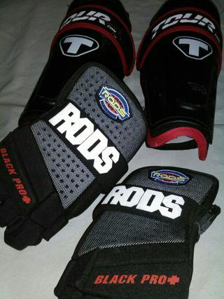espinilleras y guantes hockey