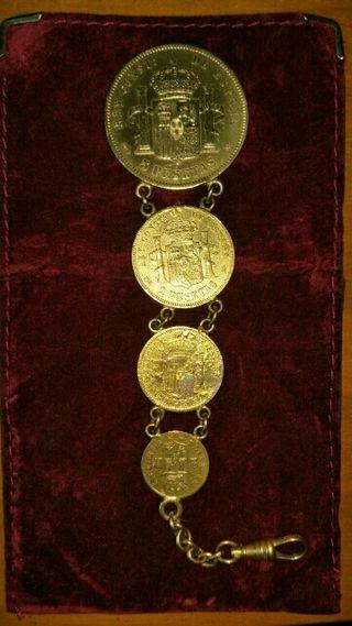 Llavero/medallón de monedas antiguas