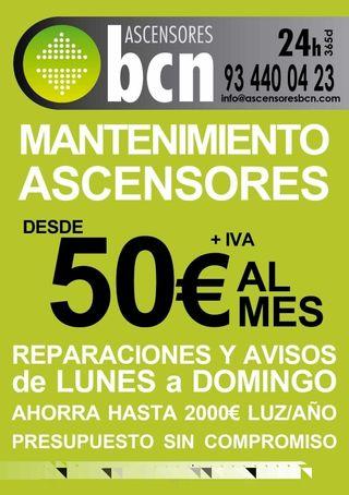 Ascensor mantenimiento y reparación ASCENSORES BCN