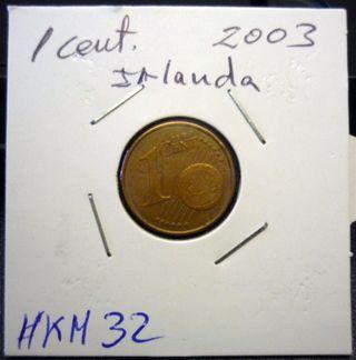 1 céntimo de Irlanda del año 2003. #KM 32