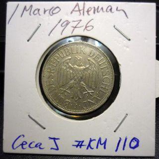 1 Marco de Alemania del año 1976. #KM 110. Ceca J