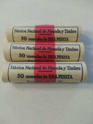 lote monedas de 3 cartuchos FNMT 1 peseta 1975