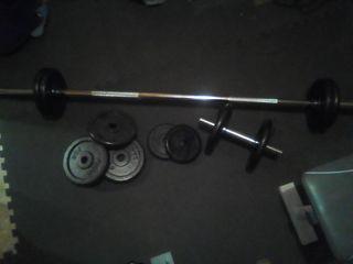 barra pesas y mancuerna con discos 54 kg