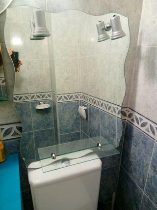 Espejo baño con luz y estantería