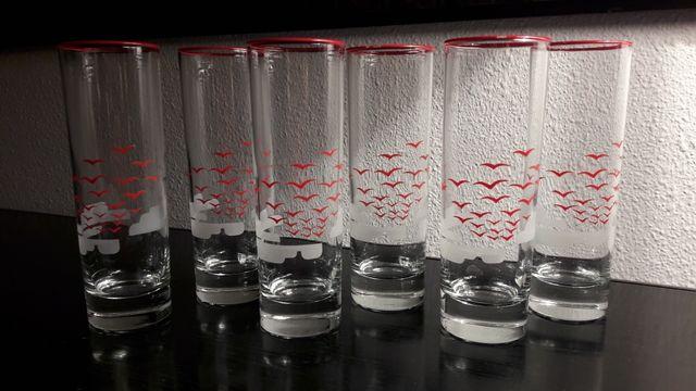 6 Vasos De Cristal Decorados De Segunda Mano Por 10 En