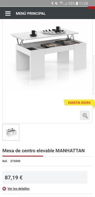 Mesa elevable Conforama nueva! 43×100×50 cm