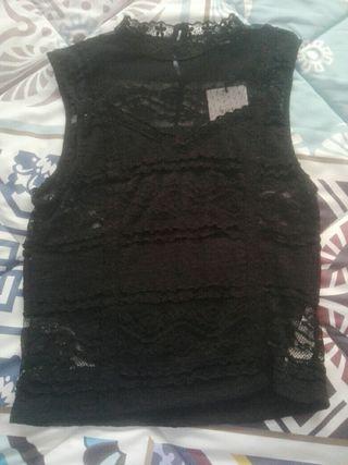 camisa negra transparente mujer